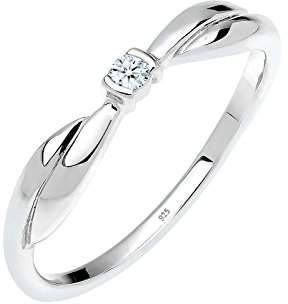 Diamore Women's 925 Sterling Silver 0.03 ct Xilion Cut White Diamond Engagement Ring , Size P
