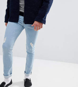 Just Junkies Skinny Jeans In Light Wash With Rip And Repair