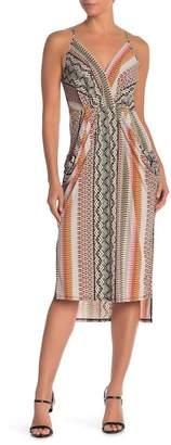 BCBGeneration Printed Faux Wrap Midi Dress
