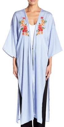 Room Service Satin Front Tie Maxi Kimono
