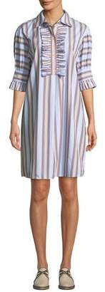Tory Burch Striped Ruffle-Front Half-Sleeve Shirtdress