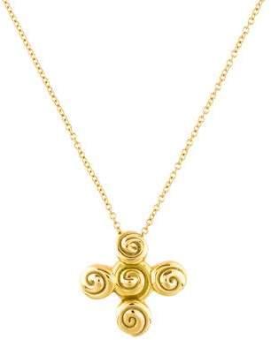 Tiffany & Co. 18K Swirl Cross Pendant Necklace