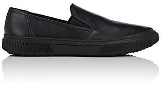 Prada Men's Wedge-Sole Leather Slip-On Sneakers - Black