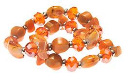 Murano LJ Accessories L&J Accessories Two Orange Shell Stretch Bracelets