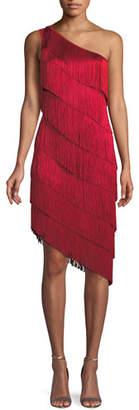Norma Kamali Fringe One-Shoulder Cocktail Dress