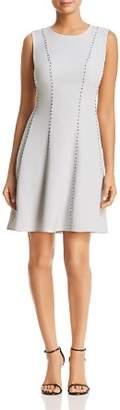 Donna Karan Sleeveless Stud Detail Fit-and-Flare Dress