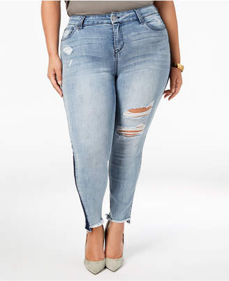 Celebrity Pink Plus Size Destructed Raw-Hem Skinny Jeans