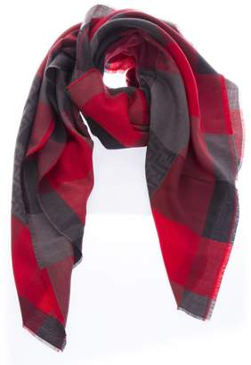 Fendi Red & Gray Checked Wool Scarf