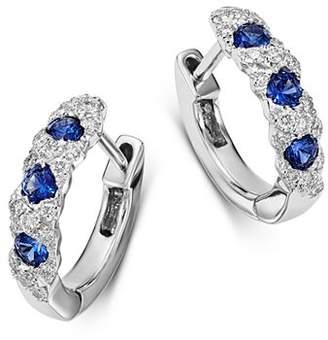 Bloomingdale's Diamond & Sapphire Huggie Hoop Earrings in 14K White Gold - 100% Exclusive