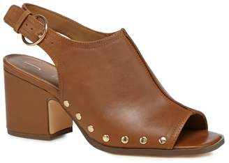 at Debenhams J by Jasper Conran Tan Leather 'Jennie' Mid Block Heel Mules