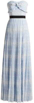 Self-Portrait Self Portrait Strapless Floral Broderie Anglaise Maxi Dress - Womens - Light Blue
