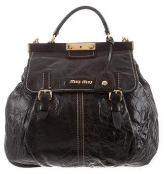 Miu Miu Distressed Leather Frame Bag