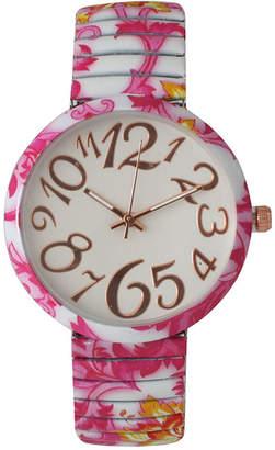 OLIVIA PRATT Olivia Pratt Womens Pink Yellow Floral Expansion Band Watch 25975Pink Yellow