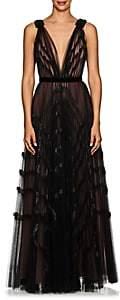 J. Mendel Women's Embellished Pleated Tulle Gown - Black