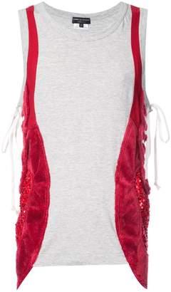 Comme des Garcons contrast lace-detail vest top