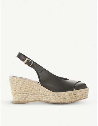 Dune Black Kyri leather slingback wedge sandals
