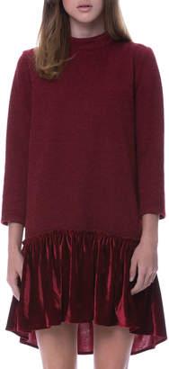 ENGLISH FACTORY Drop-Waist Knit Dress W/ Velvet Hem