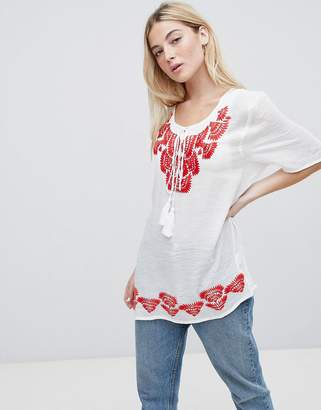 Brave Soul Woodstock Embroidered Tunic Top