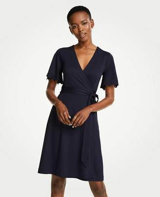 Ann Taylor Petite Embroidered Flutter Sleeve Wrap Dress