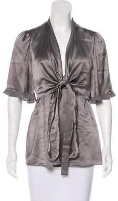 BCBGMAXAZRIA Silk Overlay-Paneled Top