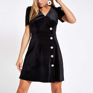 River Island Black velvet embellished button mini dress