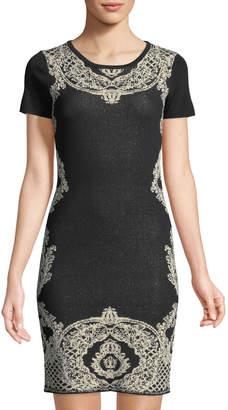 Carmen Marc Valvo Carmen By Short Sleeve Jacquard Dress
