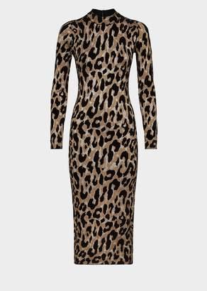Versace Animalier Knit Midi Bodycon Dress