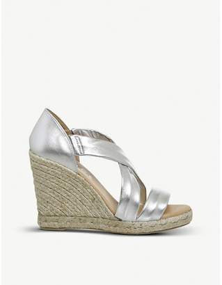 Office Holiday metallic leather espadrille wedge heel sandals