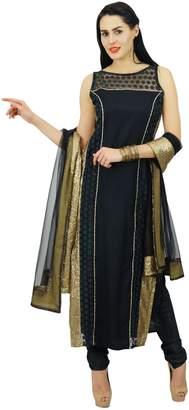 Atasi Womens Black Net Straight Kurti Designer Salwaar Kameez with Dupatta Readymade Indian Wedding Party Clothing