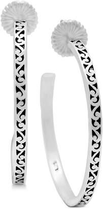 Lois Hill Scroll Work Hoop Earrings in Sterling Silver