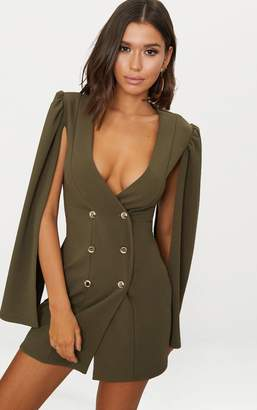 PrettyLittleThing Khaki Cape Button Detail Blazer Dress