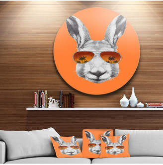 "Designart 'Funny Rabbit With Sunglasses' Disc Animal Metal Circle Wall Decor - 38"" x 38"""