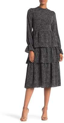 MELLODAY Tiered Dot Print Dress