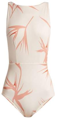 Haight - Floral Print Boat Neck Swimsuit - Womens - Ivory Multi
