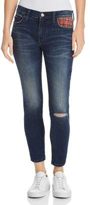 Current/Elliott The Stiletto Plaid Pocket Skinny Jeans in Erwin with Red Tartan