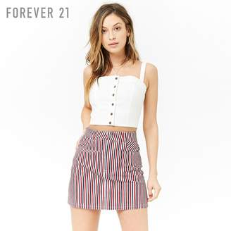 Forever 21 (フォーエバー 21) - マルチストライプデニムミニスカート