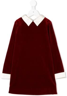 Bonpoint contrasting trim velvet dress