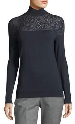 Lafayette 148 New York Lace-Yoke Silk Turtleneck Sweater