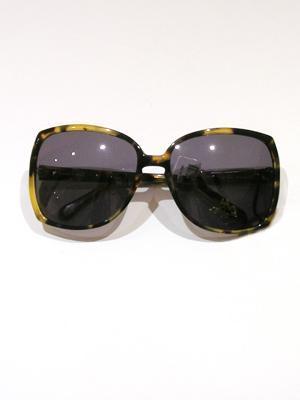 KAREN WALKER yellow and brown tortoise shell oversized sunglasses (ANNIE) Plastic Frames