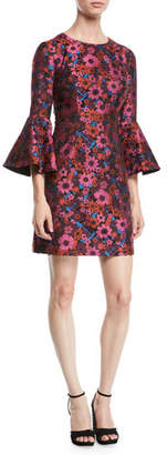 Trina Turk Bell-Sleeve Floral Mini Dress