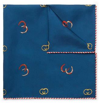 Gucci Printed Silk-Twill Pocket Square - Blue