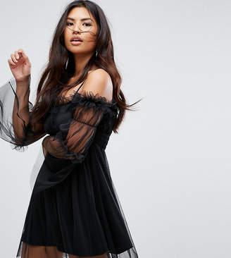 Missguided Tulle Cold Shoulder Dress