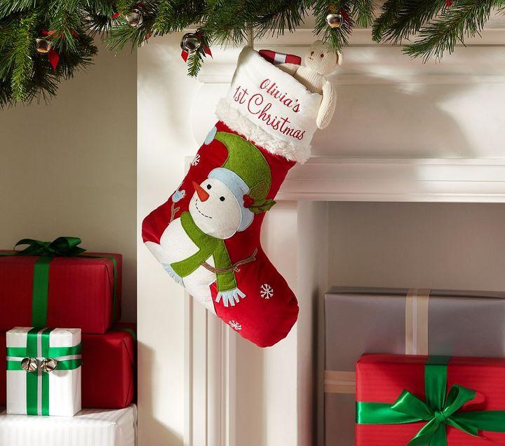 Pottery Barn Kids Babys First Christmas Velvet Stocking