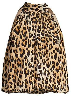 Alice + Olivia Women's Maris Leopard Halter Tie-Neck Silk Blouse
