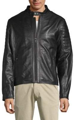 William Rast Long-Sleeve Leather Moto Jacket