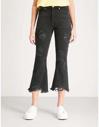 Mo&Co. Distressed stretch-denim jeans