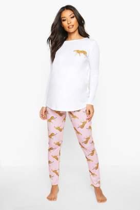 boohoo Maternity Leopard Long Sleeve PJ Set