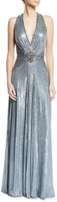 Jenny Packham Crisscross-Back Metallic V-Neck Gown