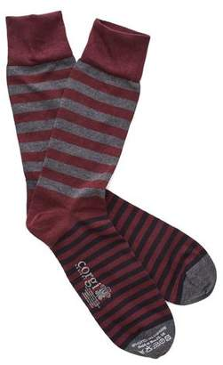 Corgi Variegated Stripe Socks in Maroon/Grey
