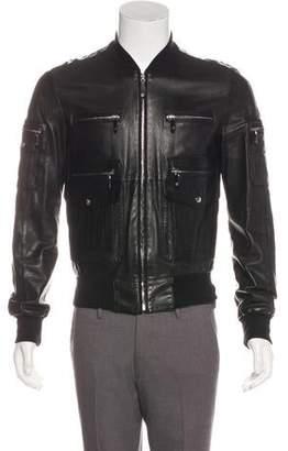 Gucci Leather Utility Bomber Jacket